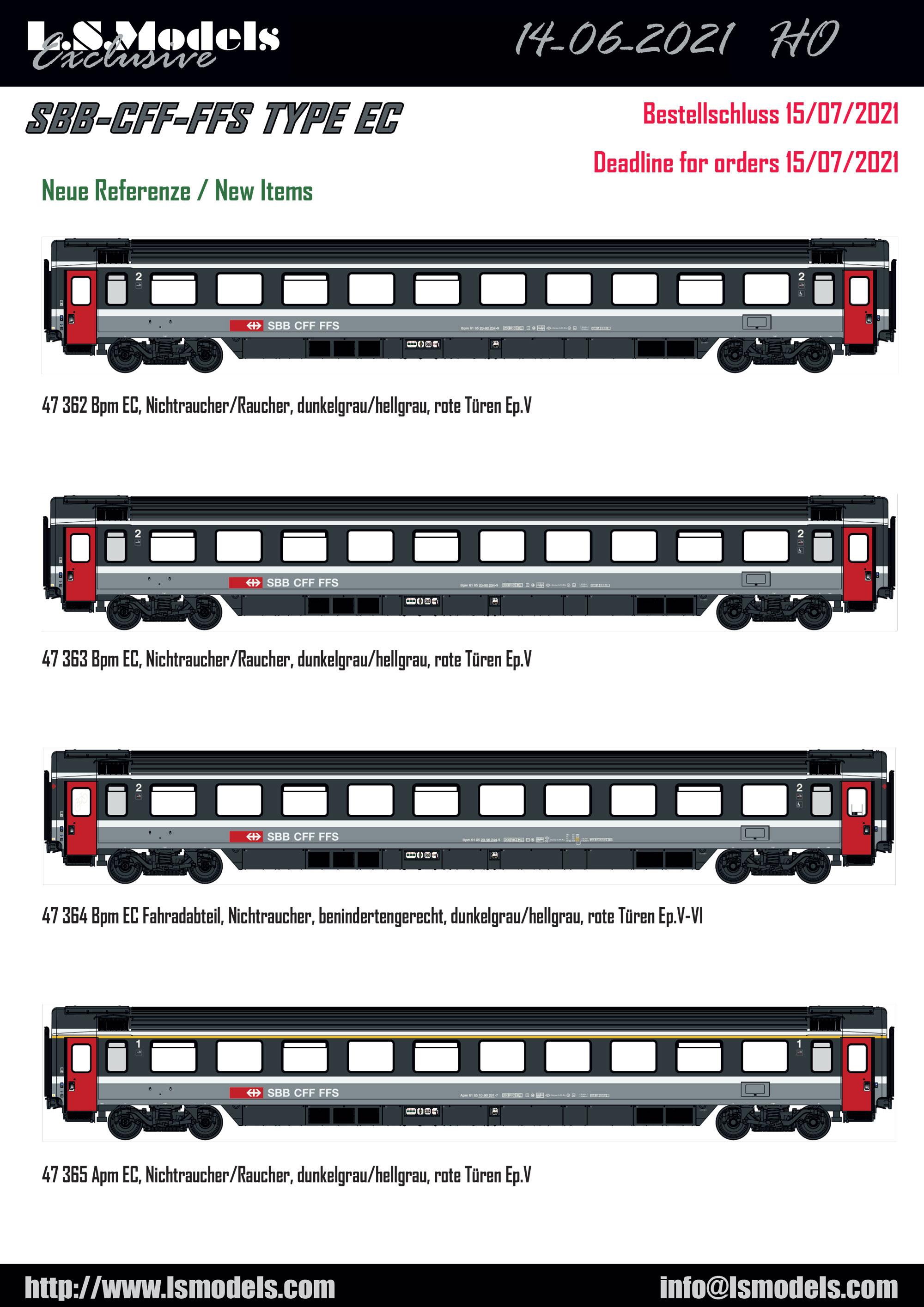 LS Models - SBB CFF FFS - Bpm 20-90 / Apm 10-90 passenger coaches