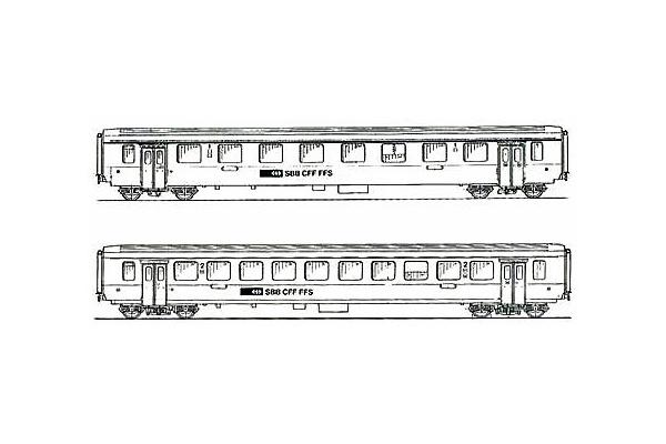 SBB Set 1 x B & 1 x A EW I NPZ Passenger coaches