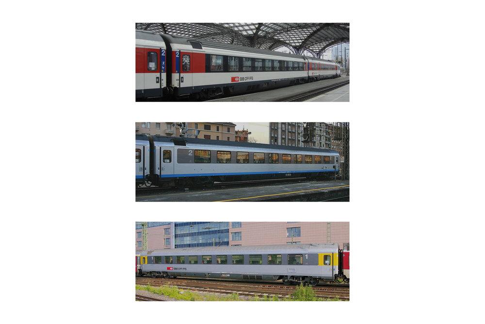 SBB CFF FFS - 2x Bpm & 1x Apm passenger coaches