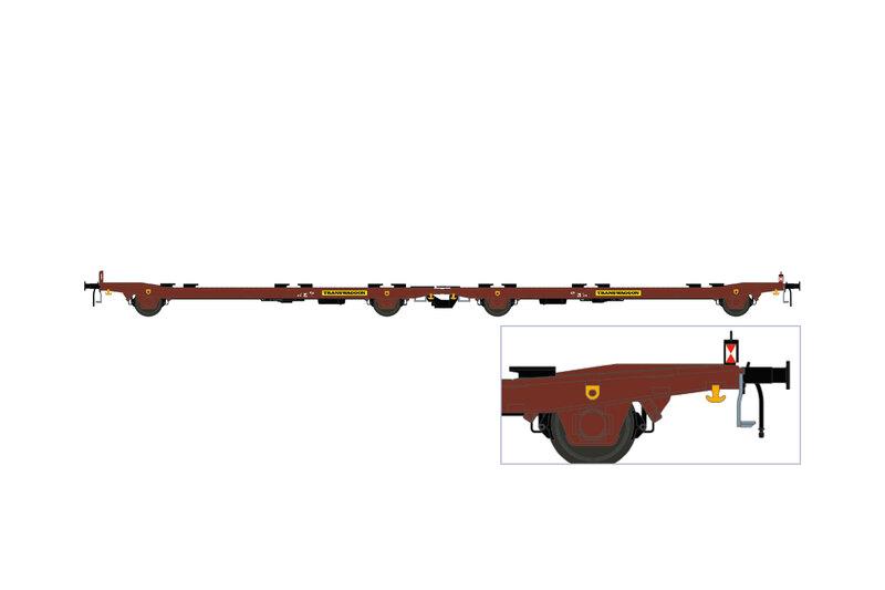 Transwaggon - Laads/Laaps flat wagon (TWA 1060) w. German train end lamp