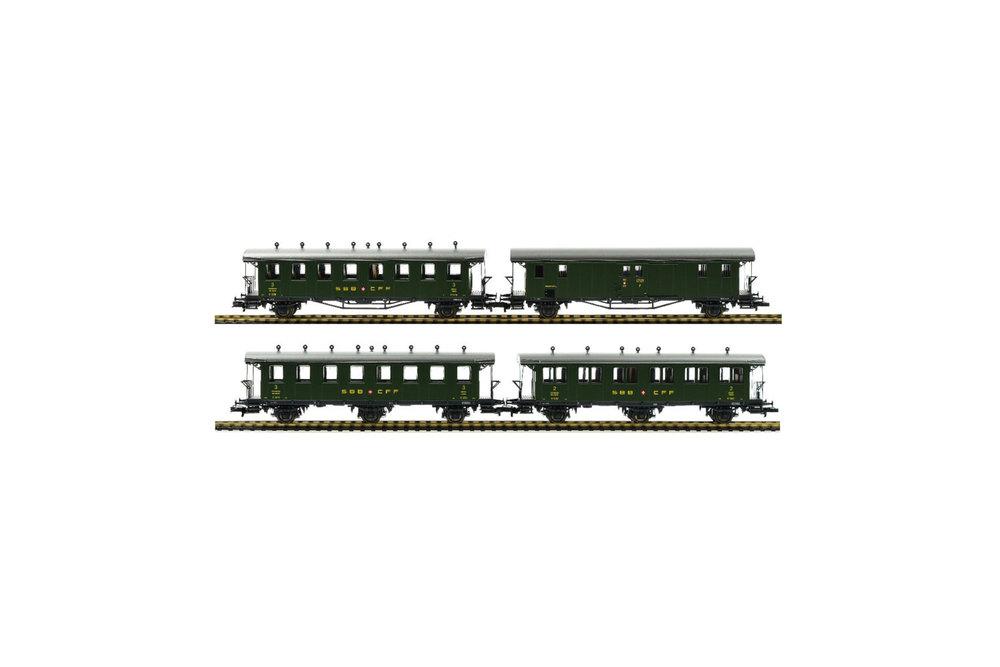 SBB CFF FFS - 1x C2, 1x C3, 1x B3 passenger coaches & 1x F2 postal coach