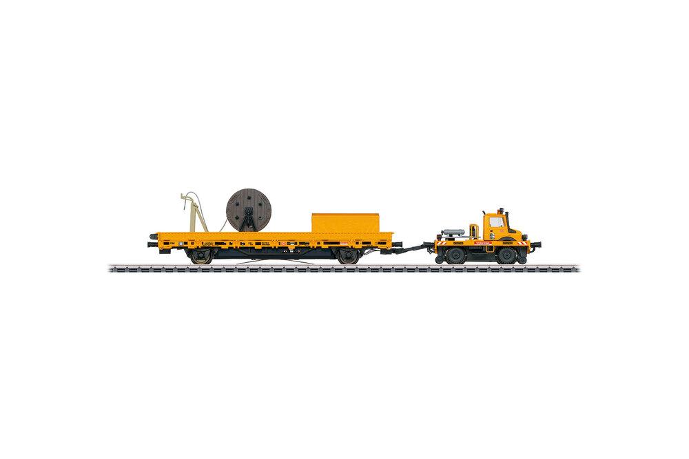 Unimog and a catenary installation car (DB)