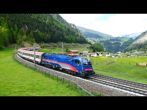 Video: EuroCity 88 - Bologna to Munich in St Jodok am Brenner pulled by ÖBB Taurus 1216 012 electric locomotive